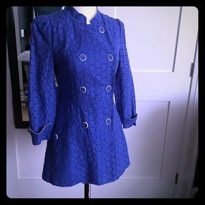 Olive des Olive Jackets & Coats - Olive Des Olive Blue Eyelet Coat Beautiful Buttons